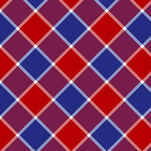 """Jacobite coat check, 6"""" diagonal, red, white and blue"""