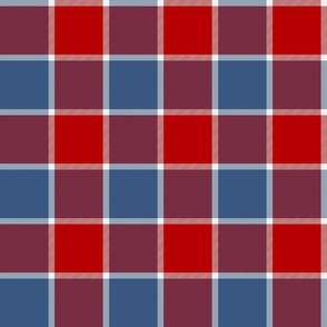 """Jacobite coat check, 6"""",  red and cadet blue"""
