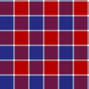"""Jacobite coat check, 6"""",  red, white and blue"""