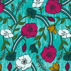 Harmony - Aqua Jewel Tone Floral Regular Scale