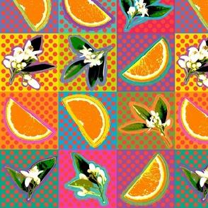 Pop Art Oranges & Blossoms
