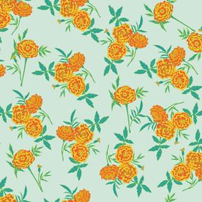 Marigolds Orange & Teal