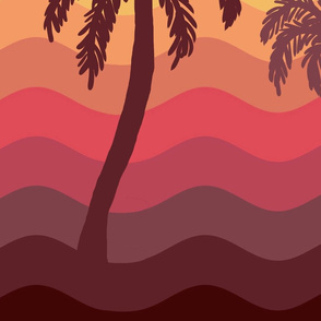 oahu sunset abstract palms