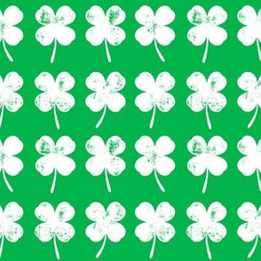 four leaf clovers - white on green - LAD19