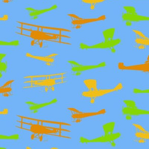 Vintage Airplane Silhouettes Colorful Kids Pattern