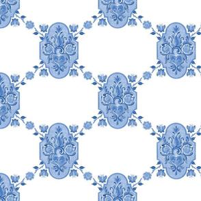 Heart Folk Art blue25