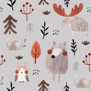 Forest friends on gray