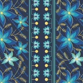 Floral pattern_double border_blue
