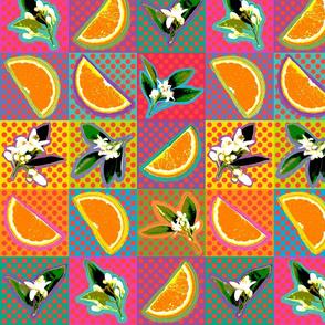 Pop Art Oranges & Blossoms-Med