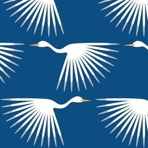 Art Deco Cranes - Classic Blue