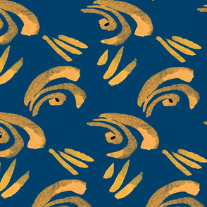 Watercolor seamless pattern of golden curls and lines on a blue background.