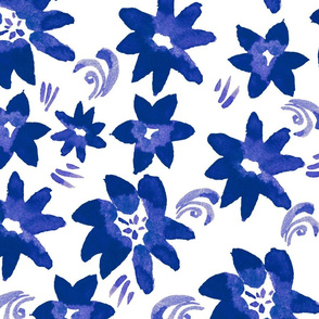 Watercolor seamless pattern of blue flowers on a white background. Hand painted leaves.