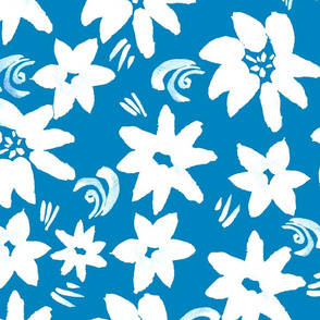 Watercolor seamless pattern of white flowers on blue. Hand painted leaves.