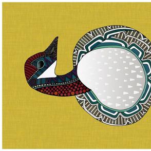 goose ochre tea towel