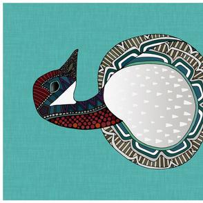 goose turquoise tea towel