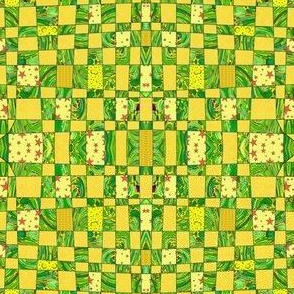 crazy checkerboard - yellow and lime