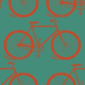Retro Bicycles Green & Orange (Jumbo Print)