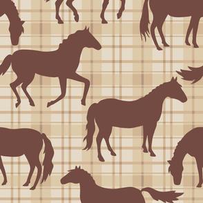 Brown Horses Beige Plaid Large