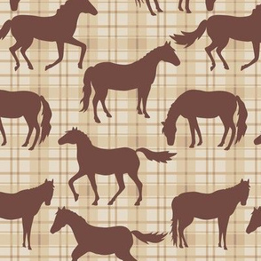 Brown Horses Beige Plaid Sm
