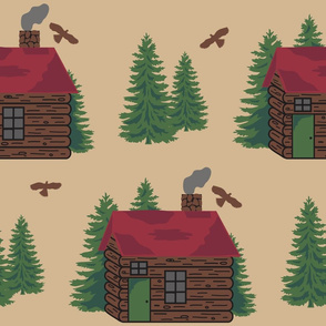 Mountain Cabin Trees Hawks Lge