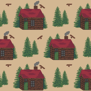 Mountain Cabin Trees Hawks Med