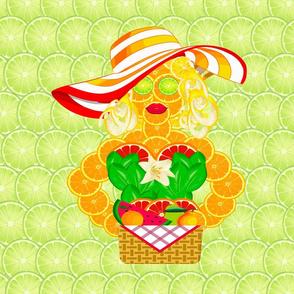 Orange Citrus Lady on Limes with Lemons and Grapefruit Pop Novelty Print