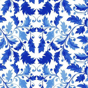 Blue Leaves on White Background Fresh Blues to Mix and Match