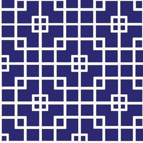 White on Blue Chinese Squares Pattern, Deco Style and Classic Blues Collection