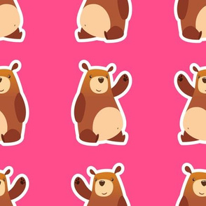 Cartoon Bears Pink