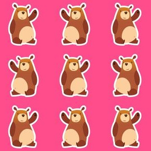 Cartoon Bears Pink (Small Print)