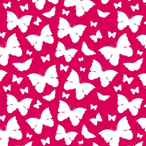 Butterfly Migration... white on cherry  red, Large