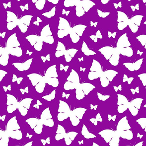 Butterfly Migration... white on purple, Large