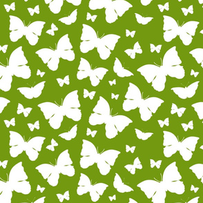 Butterfly Migration... white on olive green, large