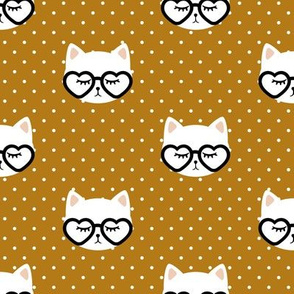 cats with heart shaped glasses - cute valentines day kitty - dark mustard - LAD19