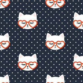cats with heart shaped glasses - cute valentines day kitty - red on dark blue - LAD19