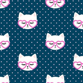 cats with heart shaped glasses - cute valentines day kitty - blue - LAD19