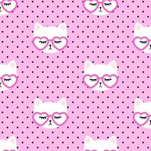 cats with heart shaped glasses - cute valentines day kitty - pink - LAD19