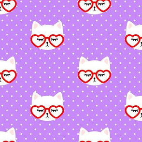 cats with heart shaped glasses - cute valentines day kitty - purple - LAD19