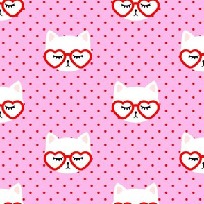 cats with heart shaped glasses - cute valentines day kitty - red on pink - LAD19