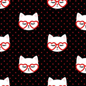 cats with heart shaped glasses - cute valentines day kitty - red on black - LAD19
