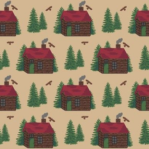 Mountain Cabin Trees Hawks Extra Sm
