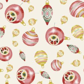 baubles in cream background