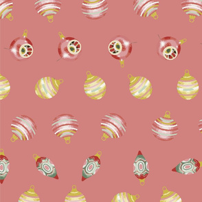 baubles in pink background