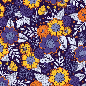 Purple, Yellow & Orange Flowers/Floral Pattern