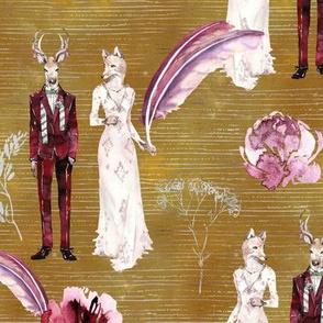 ANIMALS IN LOVE  WEDDING DEER FOX WATERCOLOR MUSTARD FLWRHT