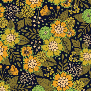 Retro 1970s Floral Pattern/Olive Green & Harvest Gold