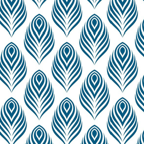 Art Deco Stylized Peacock Graphic Pattern in Peacock Teal