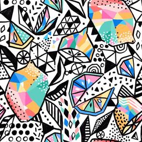 When life gives you lemons, make lemon pattern design.  Pop art citrus doodle design