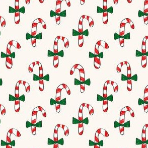 Candy Cane Half-Drop with green bow ties