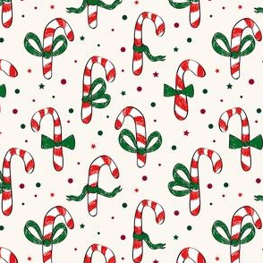 Candy Cane Half-Drop with green ribbons and confetti